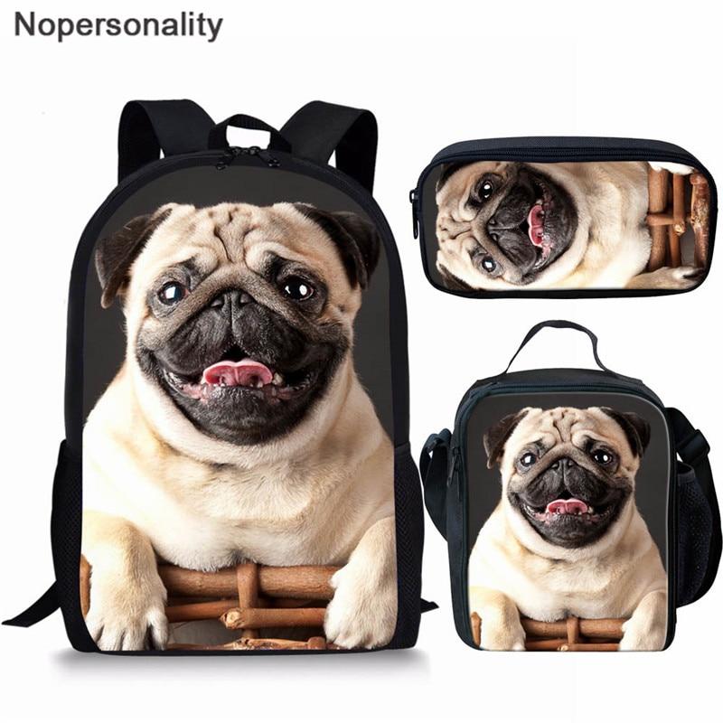 Nopersonality Teenage Girls School Backpack Puppy Pug Dog Printing 3Pcs Bagpack Kids Children Black School Bag Women Mochilas