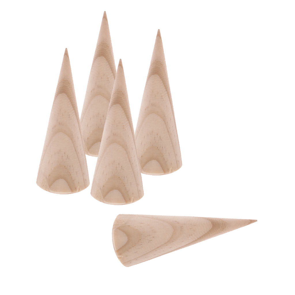 5 Pieces 8cm Unfinished Wooden Ring Display Stand Cone Shape Display DIY Crafts