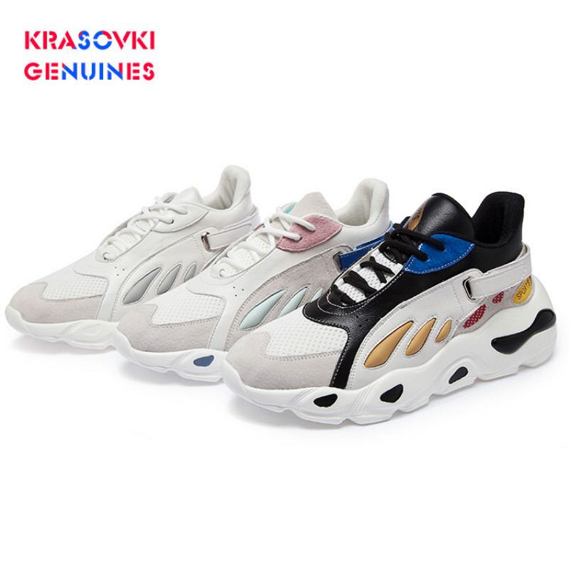 Krasovki Genuines Sneakers Women Autumn Fashion Dropshipping Mixed Colors Shallow Round Toe Mesh Thick Bottom Causal Shoes