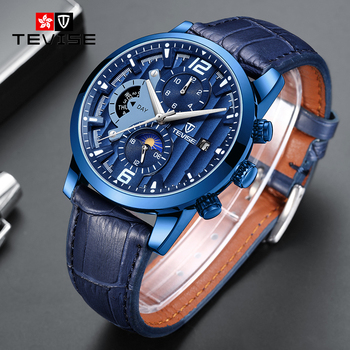 TEVISE Brand 2020 New Moon Phase Male Clock Multifunctional Automatic Wristwatch Men Mechanical Watch Leather Band Relogios