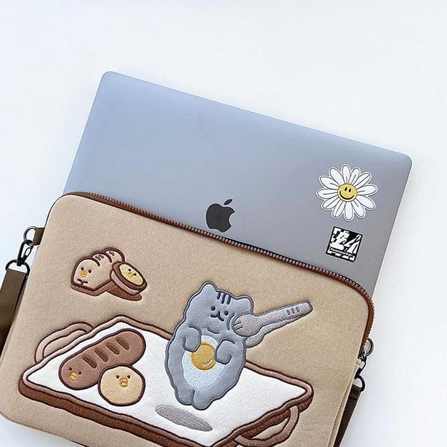 Tablet case laptop storage bag For Mac Ipad pro 9.7 11 13inch Cartoon toast cat sleeve liner bag student girls Case 4