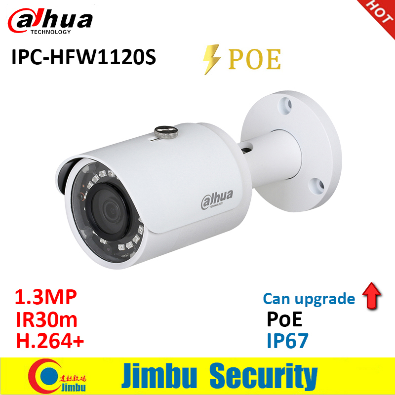 Dahua  IP Camera 1.3MP IPC HFW1120S POE IR30m H.264+ waterproof IP67 English firmware can be upgraded bullet camera  CCTV-in Surveillance Cameras from Security & Protection
