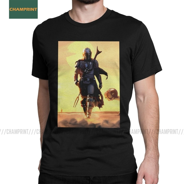 The Bounty Hunter Mandolorian Landscape Men T Shirts Star Wars T-ShirtSeagulls Jedi Fett Tee Short SleeveCotton Tops