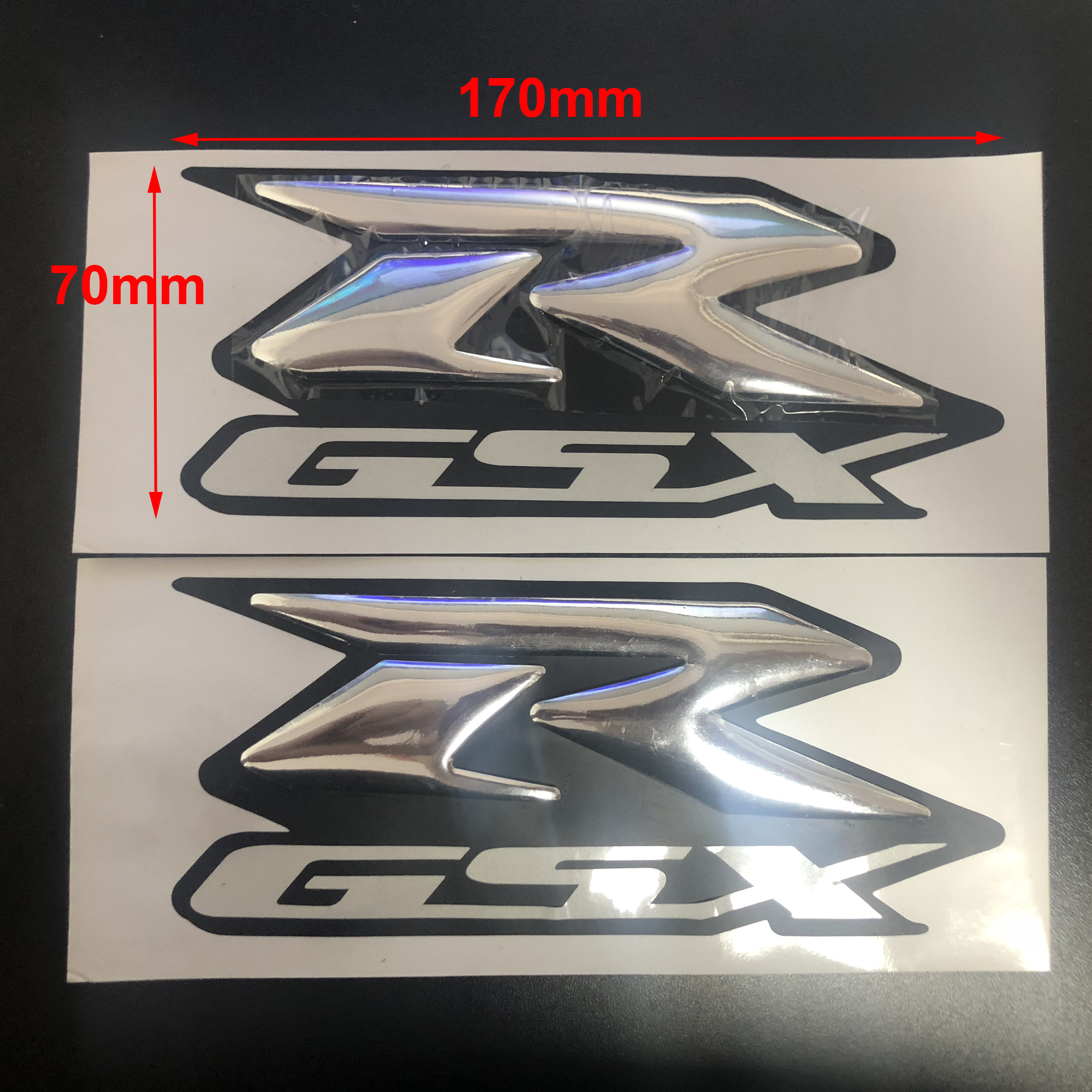 2Pcs Silver Emblem 3D Fender Tank Logo Decal <font><b>Sticker</b></font> For <font><b>Suzuki</b></font> <font><b>GSXR</b></font> <font><b>600</b></font> 750 1000 K1/2/3/4/5/6/7/8/9 Motorcycle/Cruisers/Chopper image