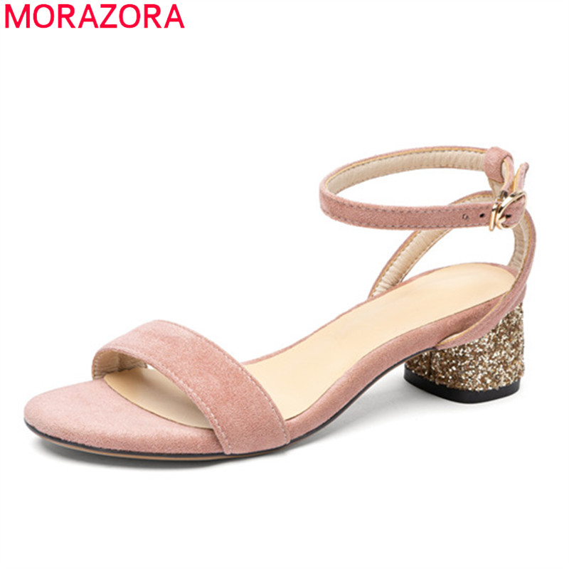 MORAZORA 2020 New Arrival High Heels Shoes Fashion Ankle Strap Ladies Shoes Thick Heels Square Toe Women Sandals Black Apricot