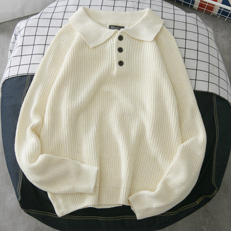 Men Sweaters Turn down Collar Solid Chic Plus Size 2XL Students All match Mens Daily Outwear