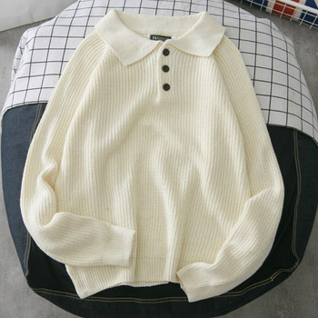 Men Sweaters Turn down Collar Solid Chic Plus Size 2XL Students All match Mens Daily
