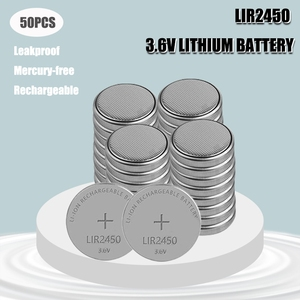50Pcs NEW LIR2450 2450 Rechargeable Li-ion 3.6V Battery Button Coin Rechargeable battery