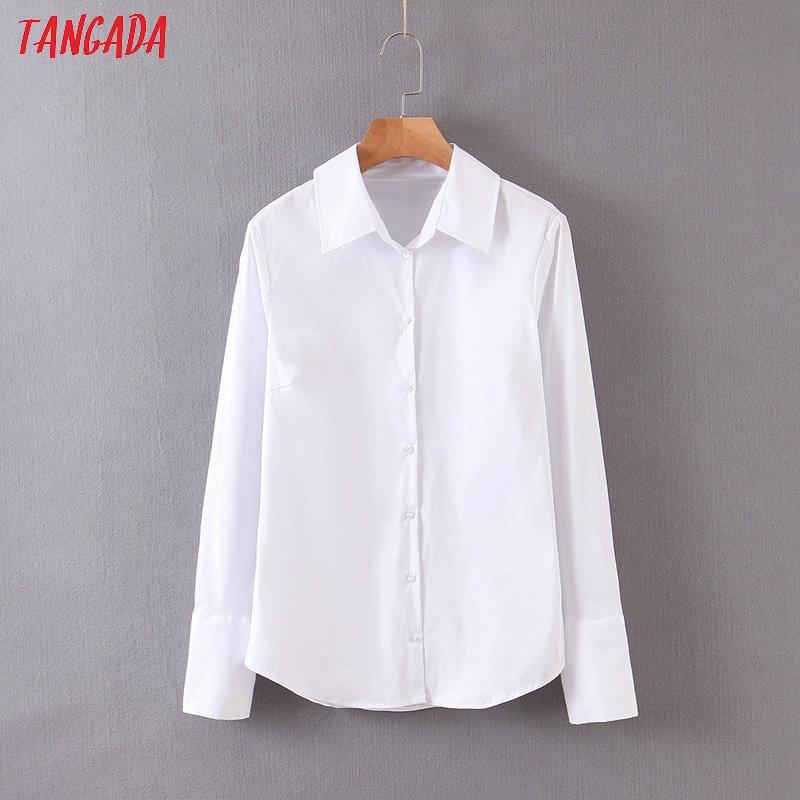 Tangada Women Basic White Shirts Long Sleeve Buttons Solid Elegant Office Ladies Work Wear Blouses QB69