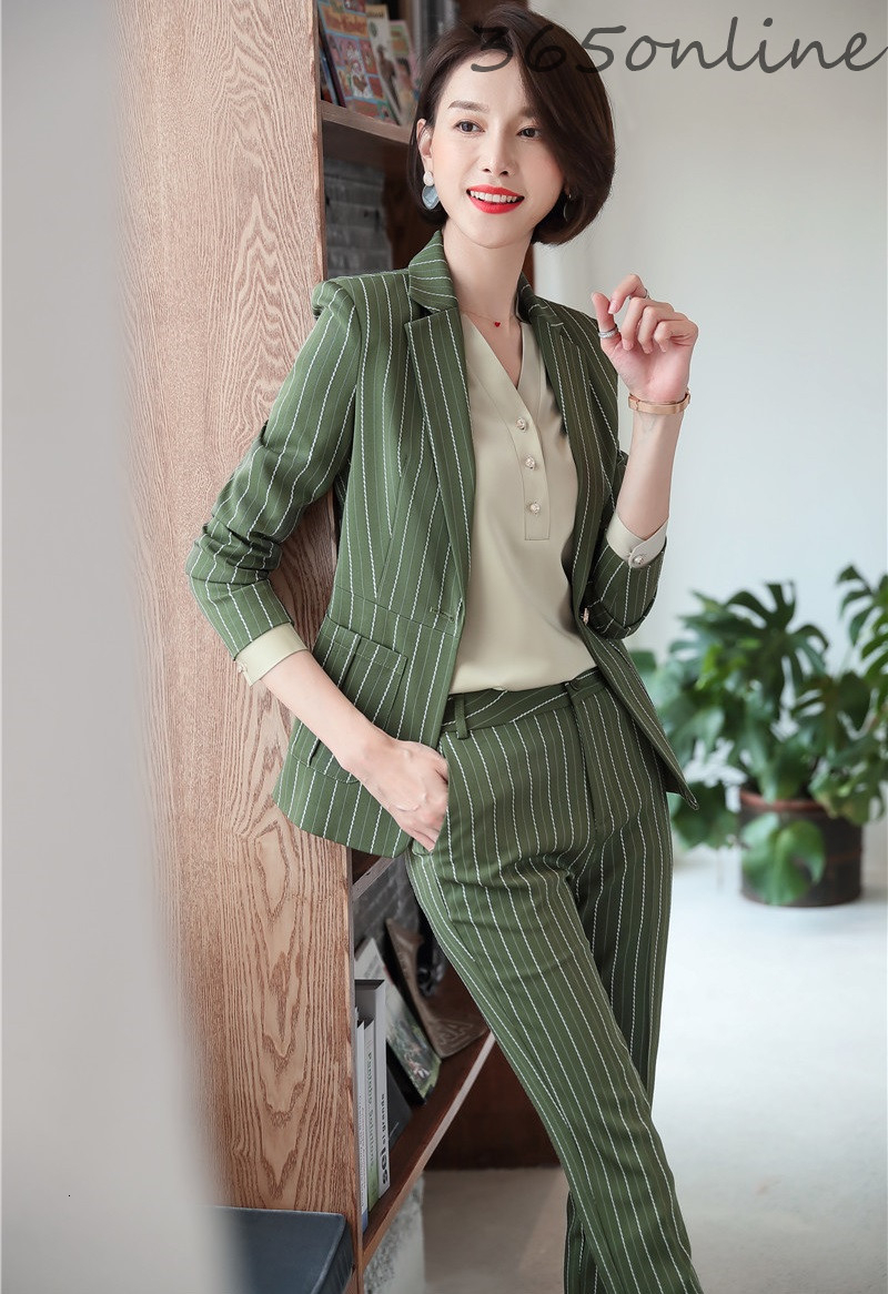 Novelty Striped Formal Uniform Designs Pantsuits With Pants And Jackets For Women Business Work Wear Professional Blazers Set
