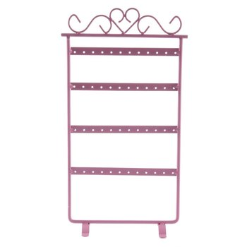 48 Hole Earrings Ear Studs Display Rack Metal Jewelry Holder Stand Organizer Showcase pink for Retail Environment  jewelry show fashion acrylic hair clip jewelry showcase holder hairpin display show stand holder jewelry display stand rack new arrival