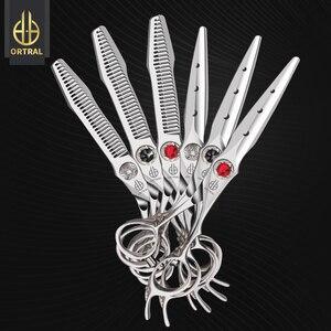 Японские 440C ножницы для волос Профессиональный высококачественный набор 6 дюймов Резка истончение салон Парикмахерские ножницы парикмахе...