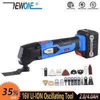 Newone 16 v li-ion multi-função ferramenta ferramenta de oscilação com bateria elétrica renovador trimmer viu máquina de ferramenta elétrica