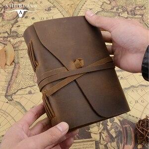 Image 4 - Handmade prawdziwej dziennik ze skóry 5x7 cali środowiska papier Vintage związane notatnik codzienny notatnik dla mężczyzn i kobiet