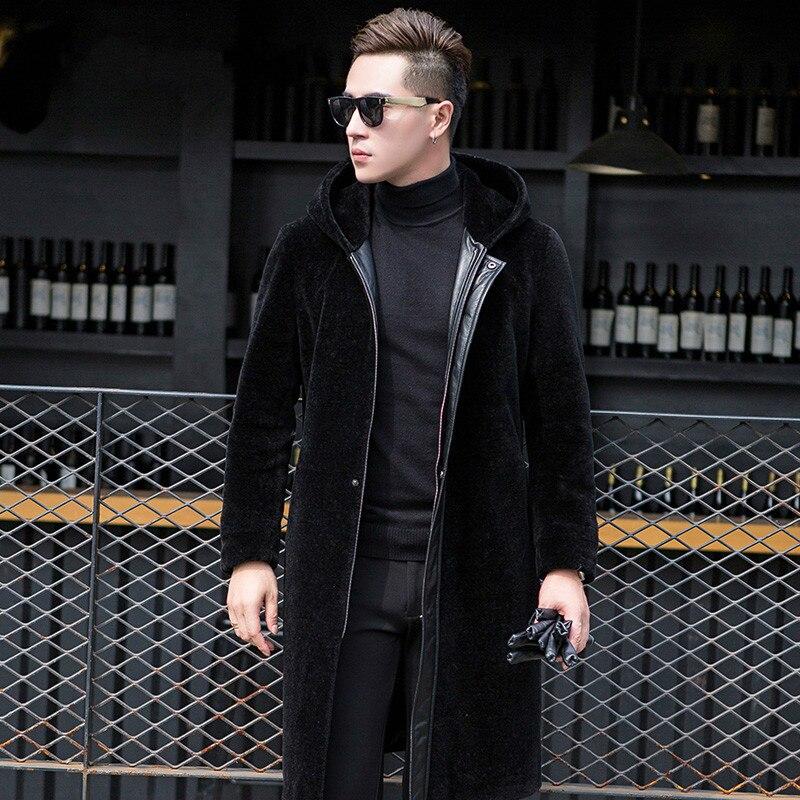 Real Fur Coat Men Sheep Shearing Wool Coat Men's Winter Jacket Long Genuine Leather Sheepskin Jackets 19005 KJ809