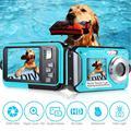 Câmera digital infantil submarina, tela dupla à prova d' água, gravador de vídeo full hd, 24mp, profissional, câmera para esportes