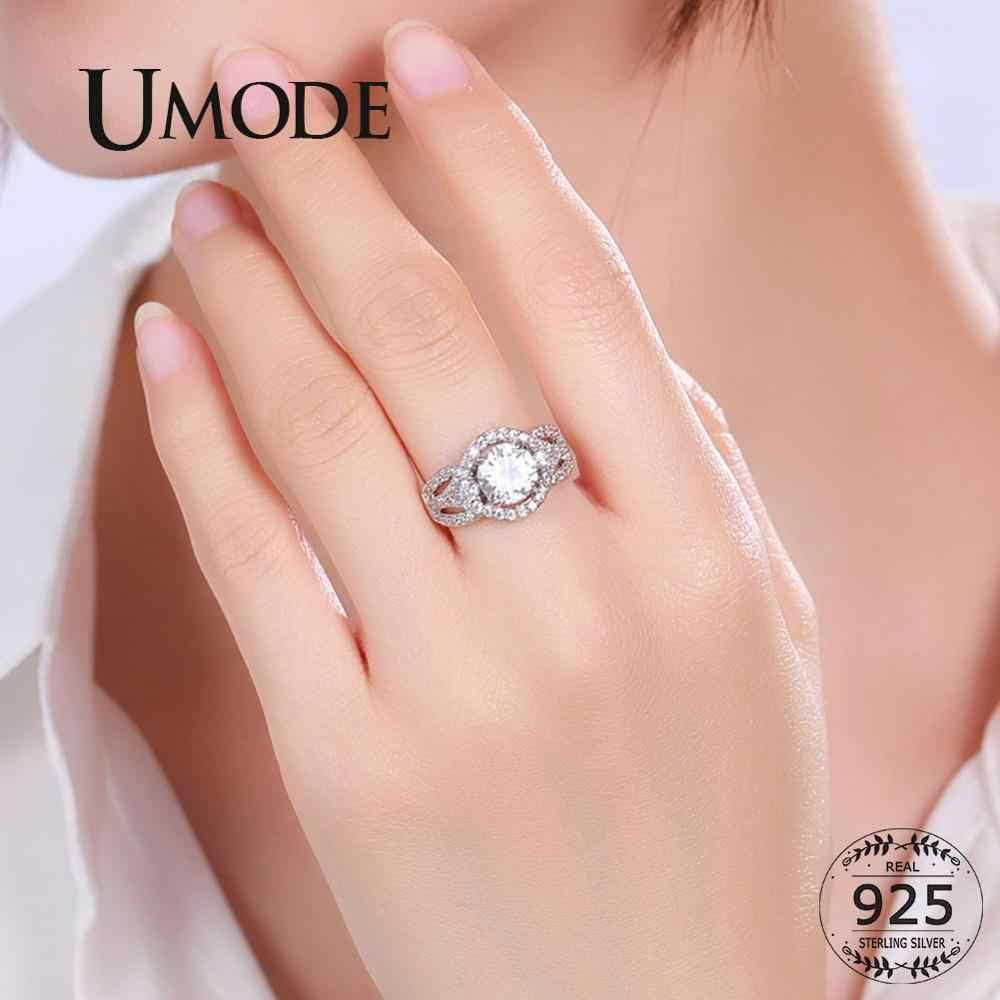 UMODE 925 เงินสเตอร์ลิงแหวนคริสตัล CZ แหวนสำหรับผู้หญิงของขวัญหมั้น Femme Luxury เครื่องประดับคริสตัล LR0801