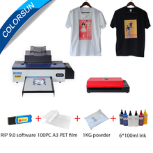 Colorsun A3 DTF printer R1390+ PET film Oven Transfer Film Printing Package Direct Transfer Film Printer kit for t shirt