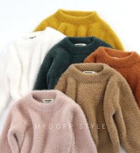 Image 3 - Girls Sweaters Winter Wear New Style Imitation Mink Jacket Sweater 1 3 Year Old Baby Warm Coat Kids Sweaters