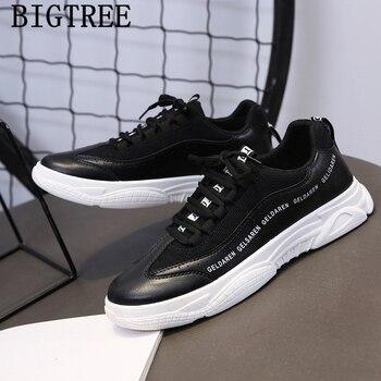 Zapatos De cuero negros Para Hombre, zapatillas gruesas a la moda, De...