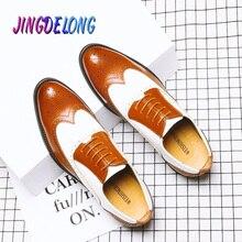 الرجال الرسمي أحذية من الجلد البروغ الأحذية الاجتماعية الذكور أنيقة مصمم أسود الرجال الأعمال فستان أحذية أشار تو الرجال أحذية الزفاف