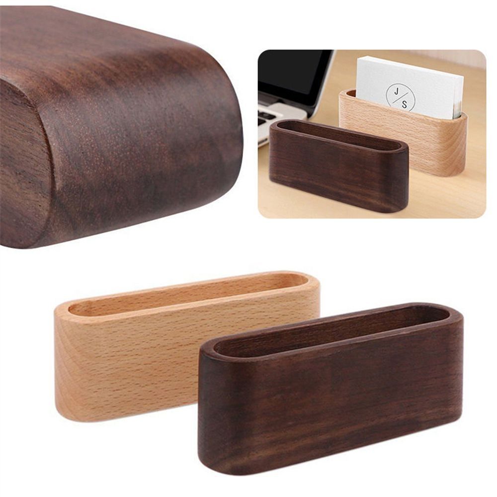 New Wooden Desk Organizer Business Card Holder Display Device Card Stand Yellow 2020