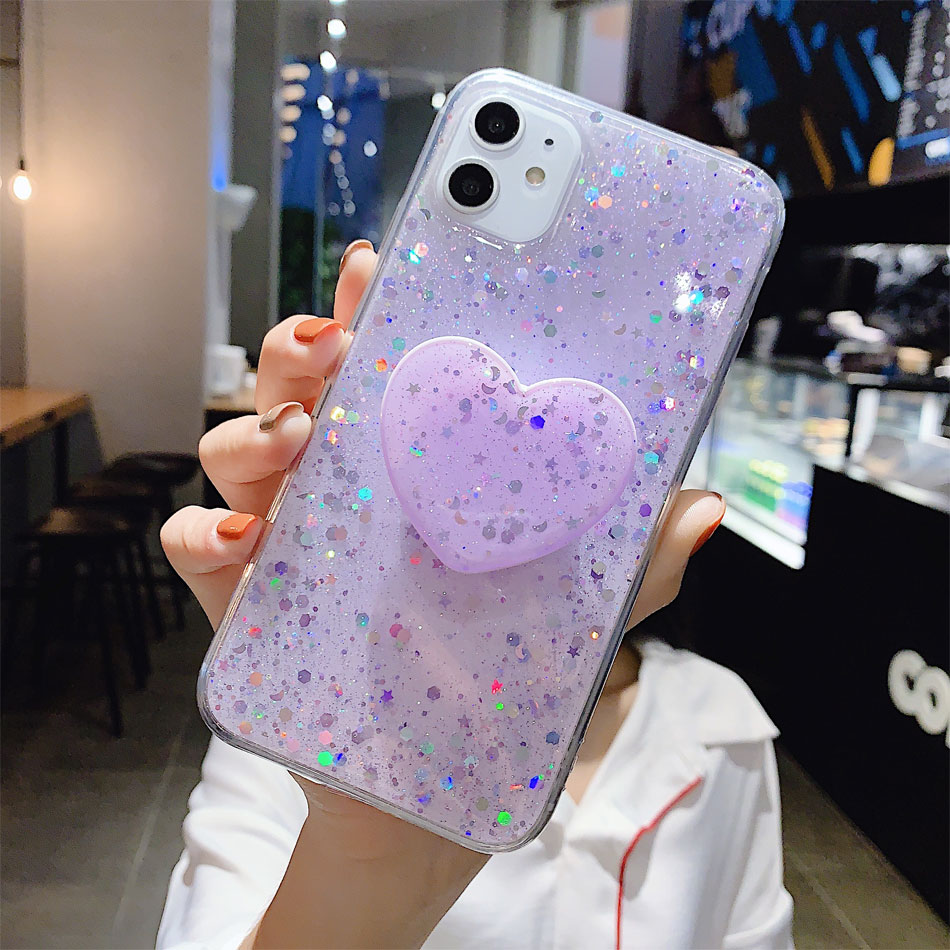 H737e3768d64842f3bdff5f290faffb99y - Bling Glitter Phone Case For iphone 11 Case 11 pro max 6 6s 7 8 Plus X XR XS Max Star Sequin Cover Funda Stand Holder Coque