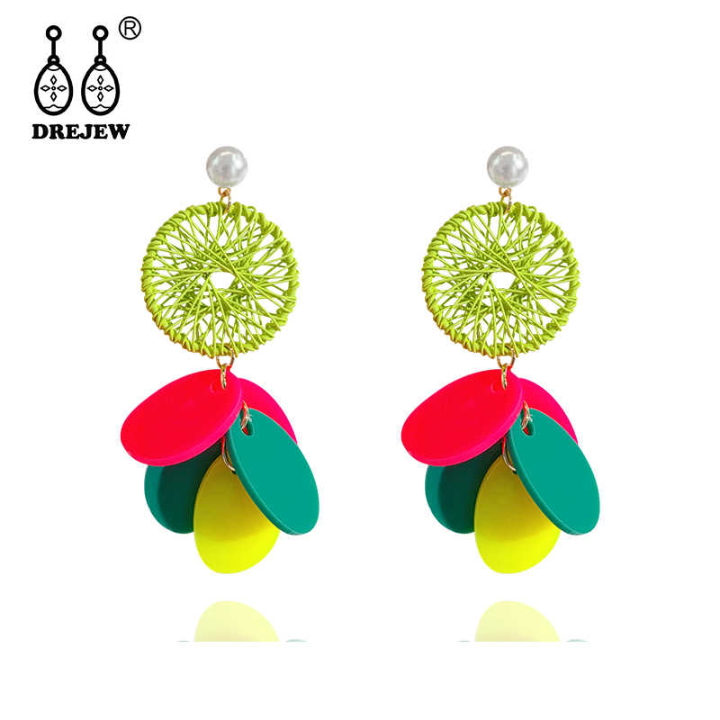 DREJEW Contrast Color Round Acrylic Sheet Statement Earrings Pearl Alloy Drop Earrings for Women Wedding Christmas Jewelry E6541