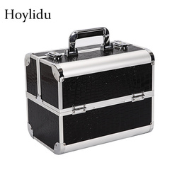 Professionele Make Boxes Vrouwen Dubbele Geopend Cosmetische Case Mode Kwaliteit Aluminium Grote Capaciteit Multi-layer Sieraden Doos