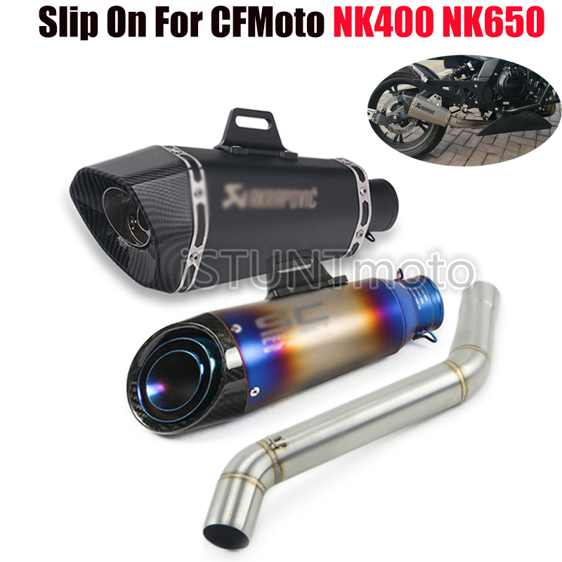 Motorcycle Full Exhaust System Escape Modified Muffler Pipe Contact Middle Link Pipe Tube For CFMoto <font><b>NK400</b></font> 650 NK650 400NK 650NK image
