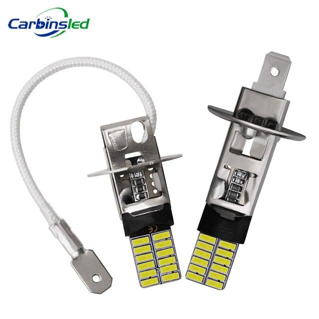 CARBINS 2X H1 H3 LED נורות סופר מואר 4014 24SMD רכב ערפל אורות 12V 6000K לבן נהיגה יום ריצה מנורת Nebbia רכב אות LED