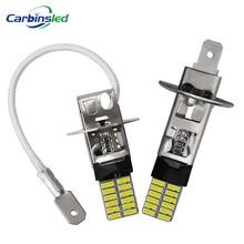 CARBINS 2X H1 H3 LED żarówki Super Bright 4014 24SMD światła przeciwmgielne samochodu 12V 6000K biały dzień jazdy reflektor do jazdy dziennej Nebbia samochód sygnał LED