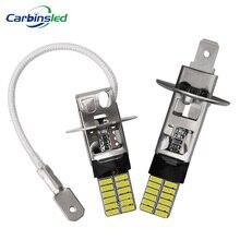 Lâmpadas de led carbono 2x h1 h3, luzes super brilhantes para nevoeiro 4014 24smd, 12v, 6000k, dia lâmpada de corrida nebbia, sinal de carro led