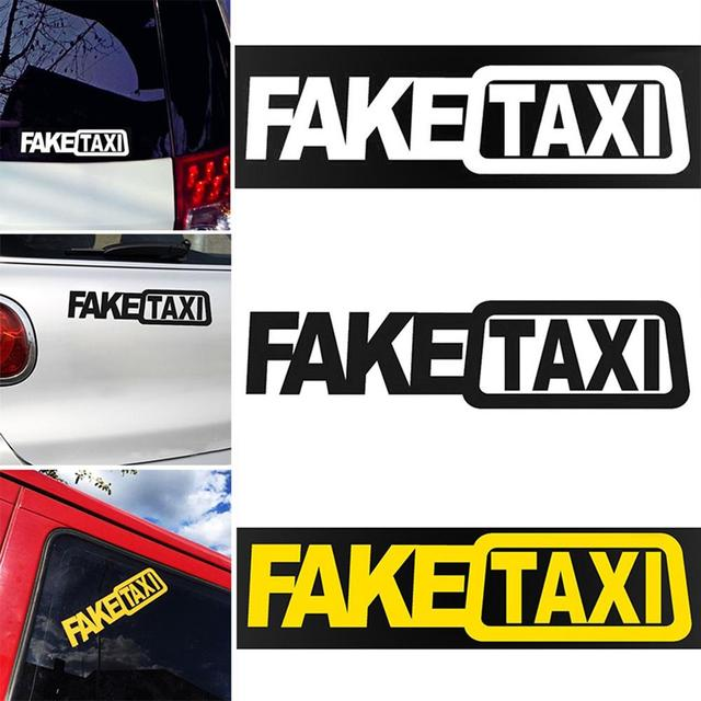 1Pcs Funny Car Sticker FAKE TAXI Drifting Sign Race Auto Vehicle Decal Decoration 5cm x 20cm 1