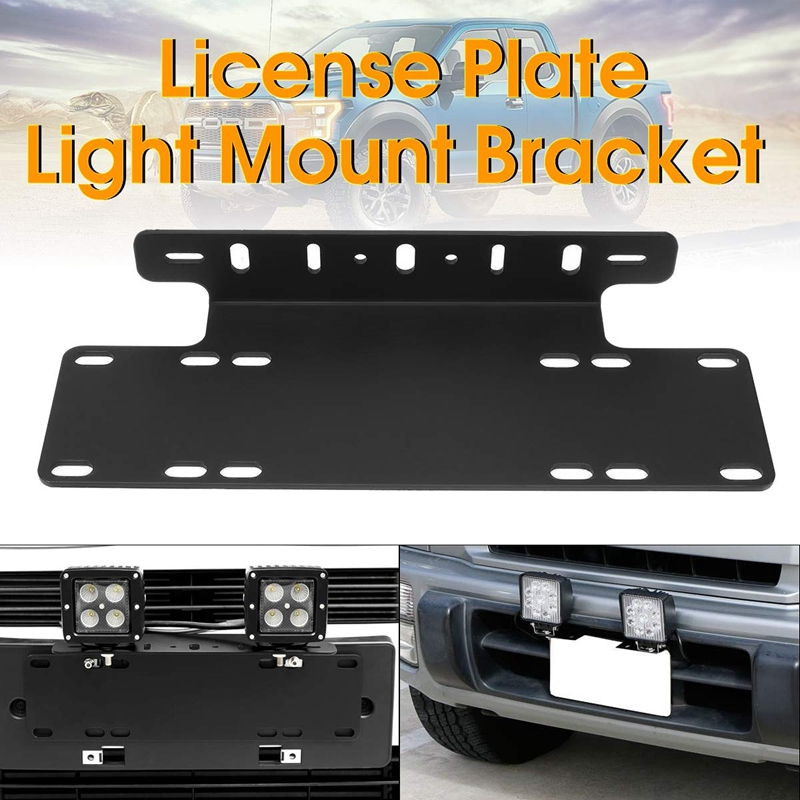NEW-1Pcs Front Bumper License Plate Mounting Bracket For Truck Off-Road SUV 4X4 4WD LED Lights License Plate Mount Bracket Holde