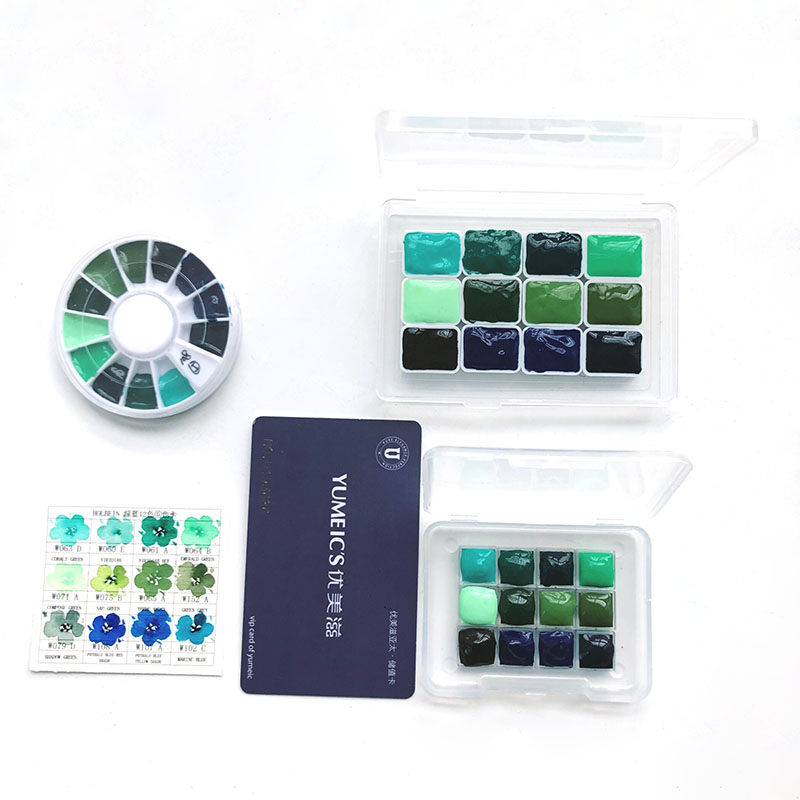 Green And Blue Series 12-color Mini Box Package Forest Watercolor Paint Distribution Disk 0.5ml/1ml/2ml Sub-package