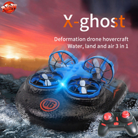 Chrismas Gift Water Land Air 3 To 1 Multifunction Remote Control Hovercraft Drone 2.4G Fly/Land/Water Mode RC Hovercraft Boat