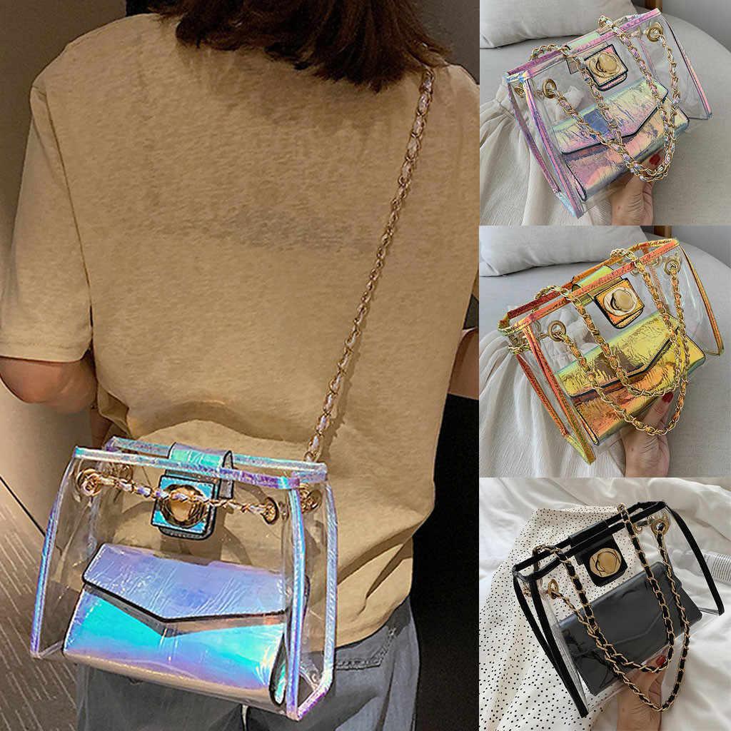 Transparan Jelly Besar 2019 Fashion Baru Kualitas Tinggi PVC Wanita Desainer Tas Rantai Messenger Bahu Tas Bolso Mujer