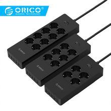 ORICO, электрическая розетка, штепсельная вилка европейского стандарта, удлинительная розетка, защита от перенапряжения, европейская силовая лента с 5x2. 4A, USB, супер зарядное устройство, порты