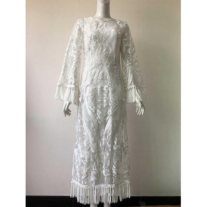新しい女性白い房フレアスリーブ o ネックエレガントな刺繍分割のドレスパーティー休日の摩耗夏