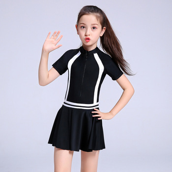 2020 Child Swimwear Girls Swimwear Boxers One Piece Swimming Suit Skirt Diving Suit Children Bathing Suit Zipper Tight Swimsuit - Black, S