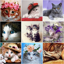5D DIY Diamond Painting Lovely Cat Diamond Embroidery Full Round Drill Rhinestone Cross Stitch Mosaic Home Decor Wall Art Gift photo custom 5d diy diamond painting full drill square round cross stitches rhinestone mosaic diamond embroidery art home decor