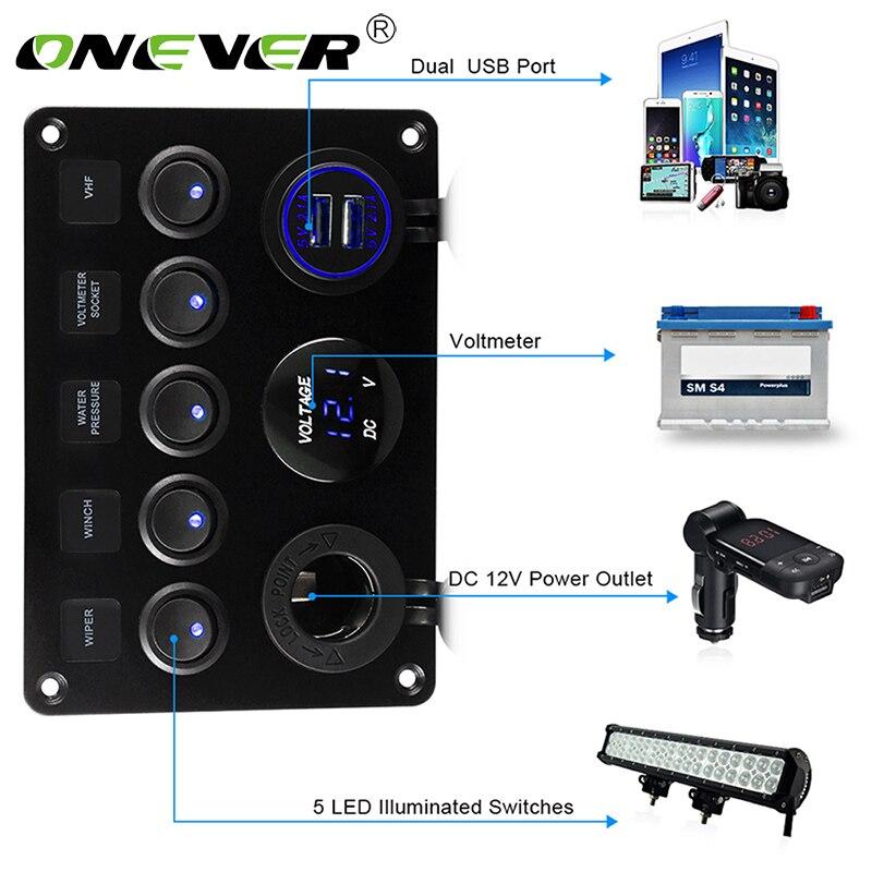 Автомобильный, морской, лодочный, светодиодный клавишный выключатель, цифровой вольтметр, 5 клавиш, двойной порт USB, выход для автомобиля, ко...