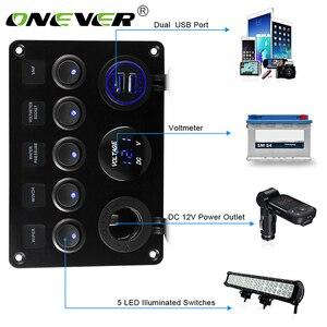 Car Marine Boat LED Rocker Switch Panel Circuit Digital Voltmeter 5 Gang Dual USB Port Outlet Car Ship Yacht Combination Panel(China)