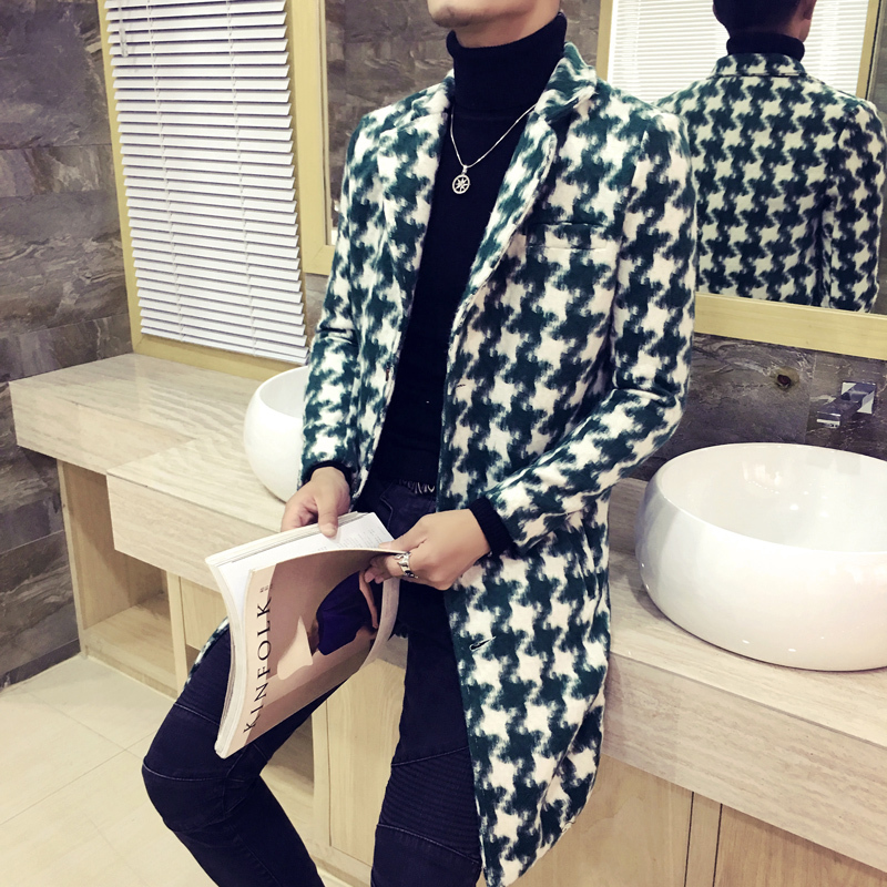 2020 Autumn Winter Men Wool Coat Fashion Plaid Buttons Casual Lattice Long Coat Jacket Turndown Collar Men Wool Coat Outwear