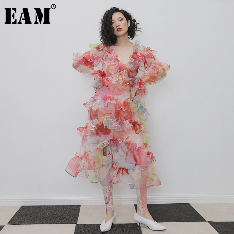 [EAM] Women Pattern Print Organza Perspective Long Dress New V-Neck Long Sleeve Loose Fit Fashion Tide Spring Autumn 2020 1N315