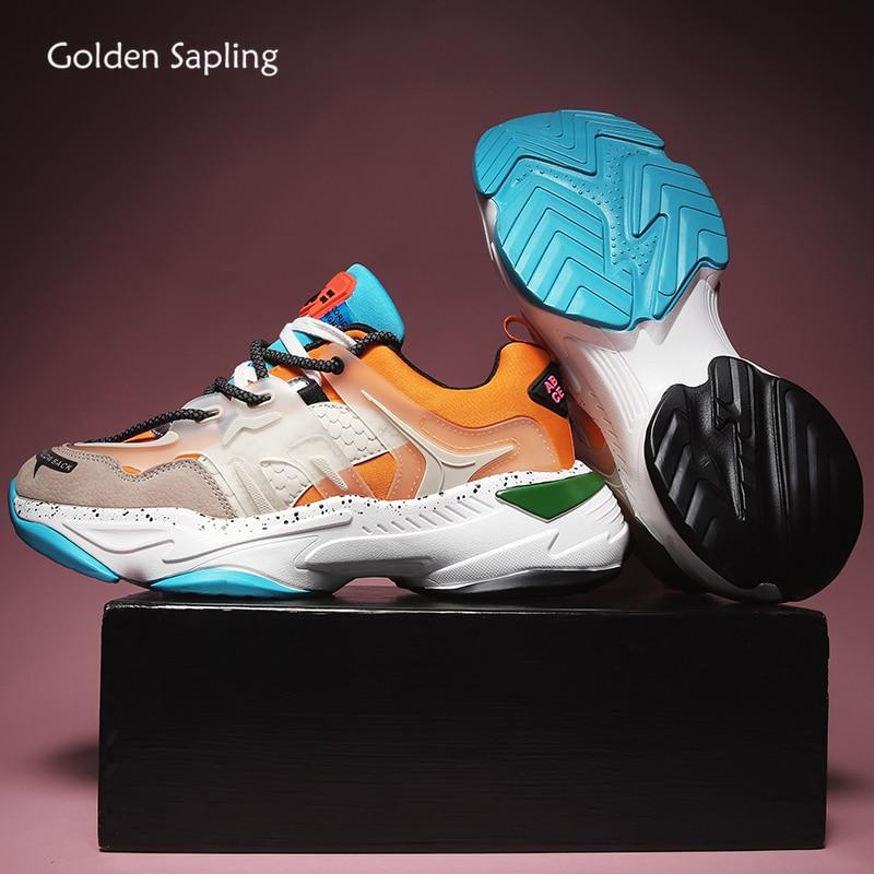 Golden Sapling Orange Man Sneakers Retro Style Lace-up Sport Shoe Height Increasing Platform Men's Running Shoes Jogging Sneaker