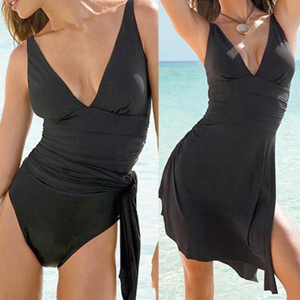 Plus Size 4XL Women Swim Dress Costume Black High Waist Swimsuit Skirted Swimwear Beachwear Bikini Cover-Ups 2020 New