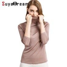 Suyadream mulheres camisas de seda gola alta manga comprida sólido pullovers ajuste fino camisa de fundo 2020 primavera outono topo xxxl