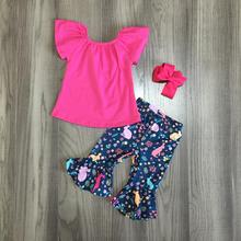 ฤดูใบไม้ผลิผ้าฝ้ายเด็กกระต่ายอีสเตอร์นมผ้าไหมชุดฤดูร้อน Capris เสื้อผ้าดอกไม้สีชมพูร้อน Boutique ruffles การจับคู่ Bow
